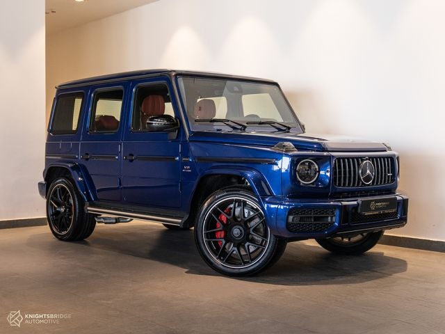 New 2021 Mercedes-Benz G63 AMG Blue exterior with Red interior at Knightsbridge Automotive
